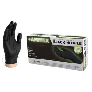 AMMEX Black Medical Nitrile Exam Latex Free Disposable Gloves