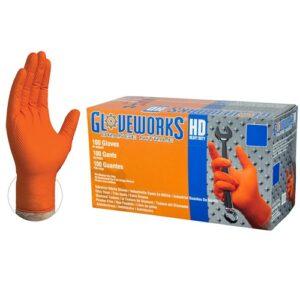 Orange Nitrile Latex Free AMMEX Gloves